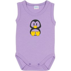 Purple sleeveless bodysuit with Tux penguin print