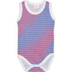 White sleeveless bodysuit with azure and red stripes