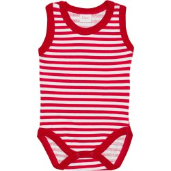 White sleeveless bodysuit with red stripes