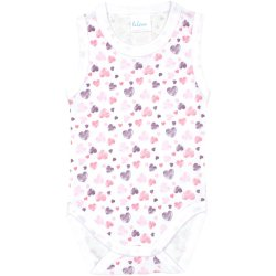 White sleeveless bodysuit with hearts pattern