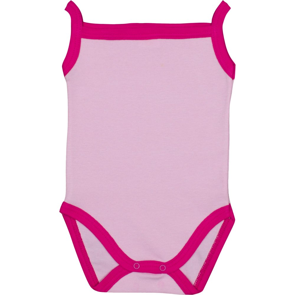 Body maiou bretele roz cu bordaj fucsia | liloo