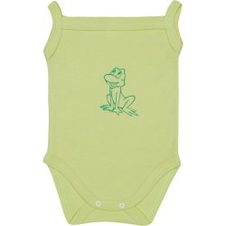 Lime green sleeveless bodysuit with frog print (camisole type)