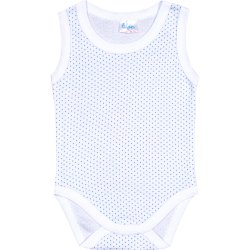 White sleeveless bodysuit with azure dots