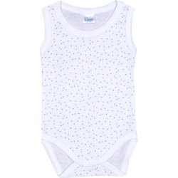 White sleeveless bodysuit with multicolour dots
