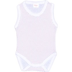 White sleeveless bodysuit with red dots