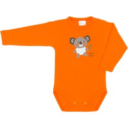 Orange long-sleeve bodysuit with koala bear print