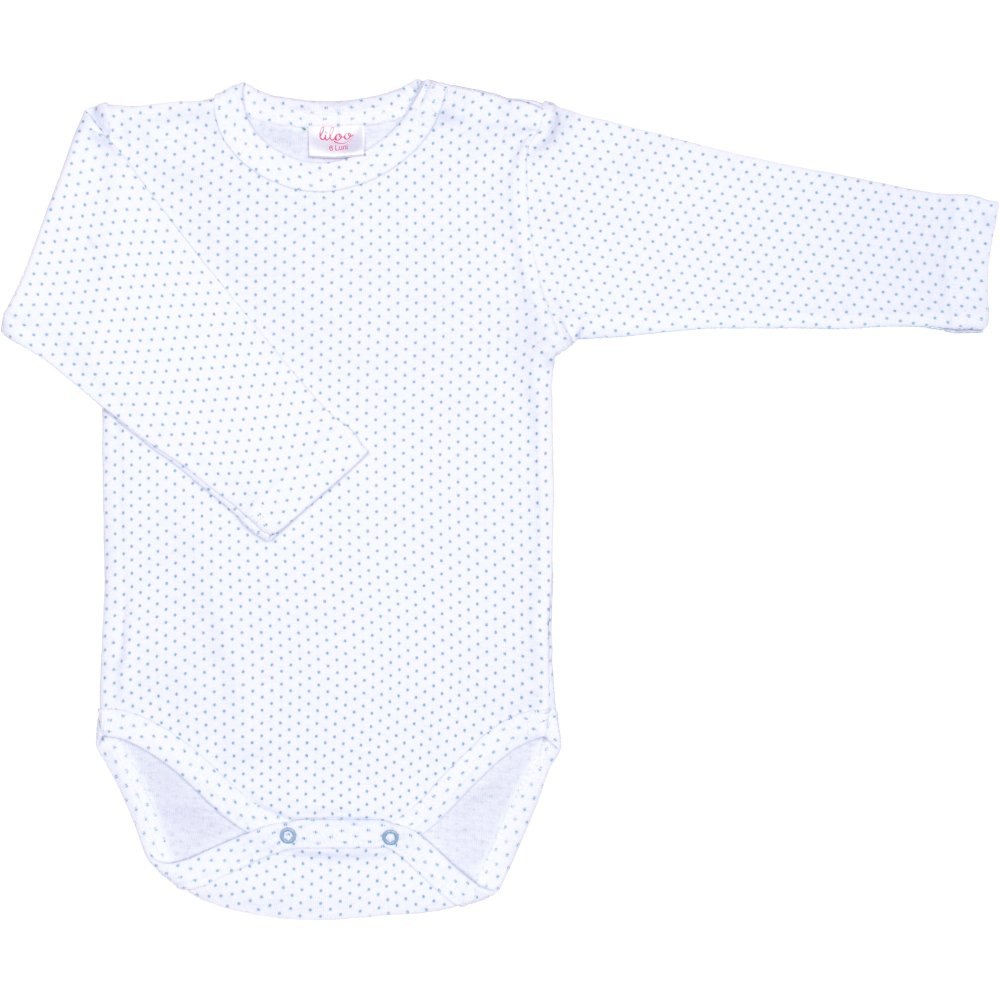 Body mânecă lungă alb buline azur | liloo