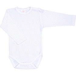 White long-sleeve bodysuit with violet dots