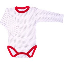 White long-sleeve bodysuit with red dots
