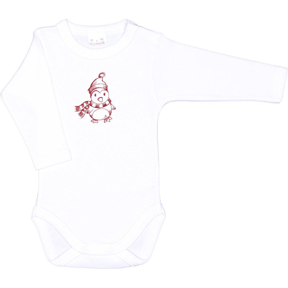 Body mânecă lungă alb imprimeu pinguin cu fular | liloo
