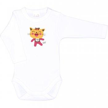 Body mânecă lungă alb imprimeu pisicuta smechera | liloo