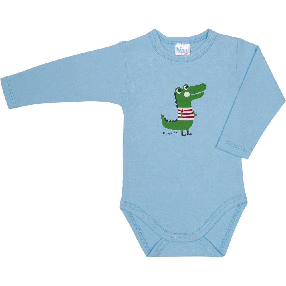 Body mânecă lungă azur deschis imprimeu aligator | liloo