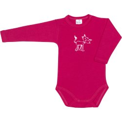 Fuchsia long-sleeve bodysuit with kitten print