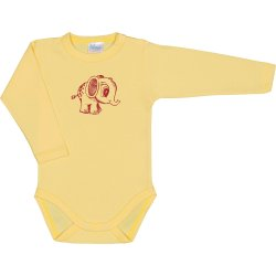 Yellow long-sleeve bodysuit with little elephant print