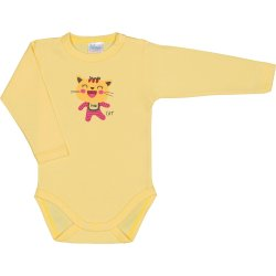 Yellow long-sleeve bodysuit with cool cat print