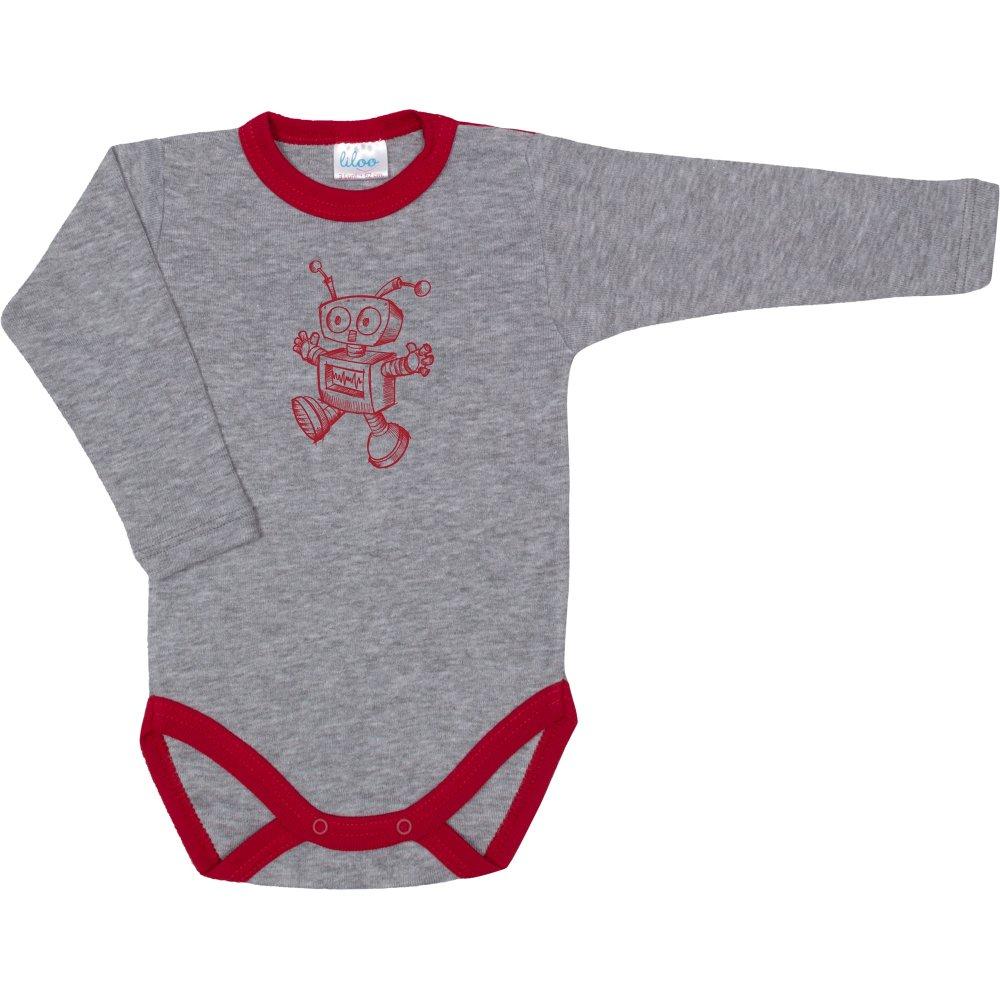 Body mânecă lungă gri & rosu imprimeu robotel | liloo