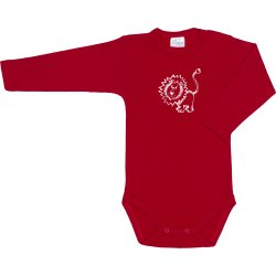 Red long-sleeve bodysuit with lion print
