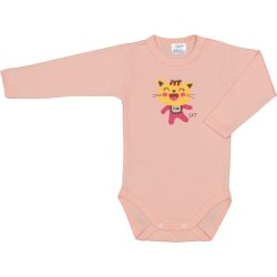 Salmon long-sleeve bodysuit with cool cat print