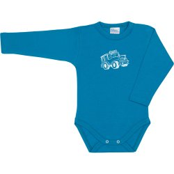 Turquoise long-sleeve bodysuit with car print