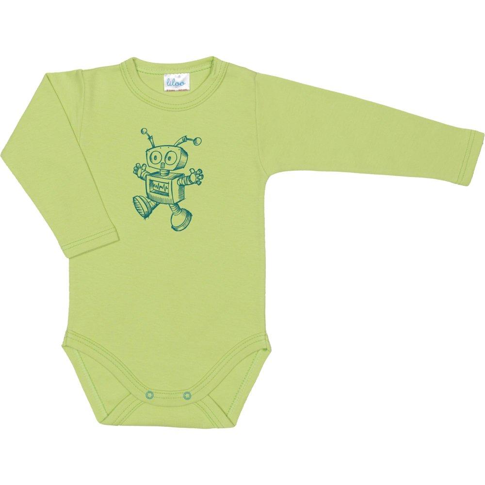 Body mânecă lungă verde lime imprimeu roboțel | liloo