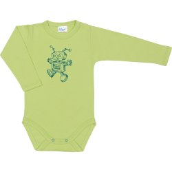 Lime green long-sleeve bodysuit with robot print