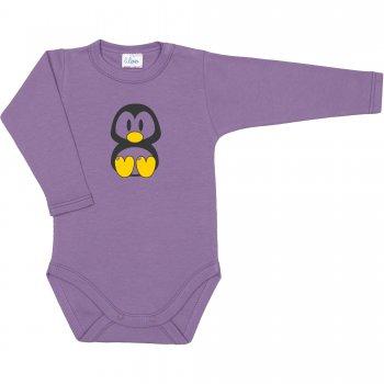 Body mânecă lungă violet imprimeu pinguinul Tux | liloo