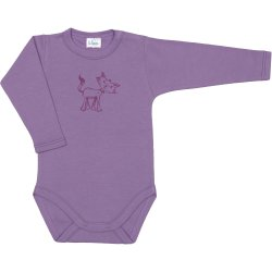 Violet long-sleeve bodysuit with kitten print
