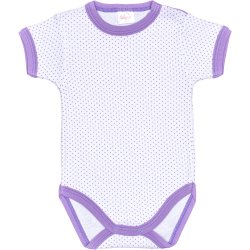 White short-sleeve bodysuit with purple dots and trim
