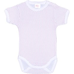 White short-sleeve bodysuit with red dots