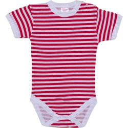 White short-sleeve bodysuit with red stripes