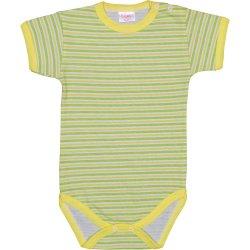 Body mânecă scurtă alb cu dungi verzi și galbene