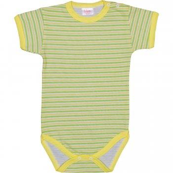 Body mânecă scurtă alb cu dungi verzi și galbene | liloo