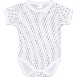 Cream-colored short-sleeve bodysuit with maroon dots