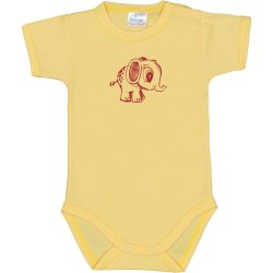 Yellow short-sleeve bodysuit with elephant print