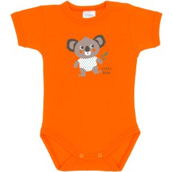 Orange short-sleeve bodysuit with koala bear print