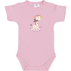 Pink short-sleeve bodysuit with giraffe print