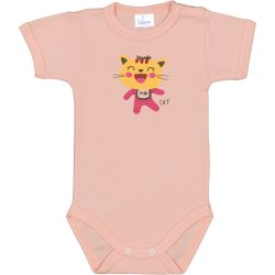 Salmon short-sleeve bodysuit with cool cat print