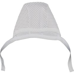 Cream with brown dots baby bonnet