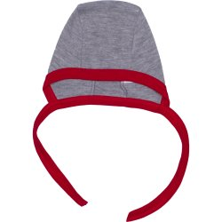 Grey and red baby bonnet