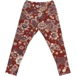 Brick red leggings with flowers print