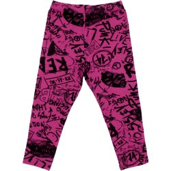 Magenta leggings with music print