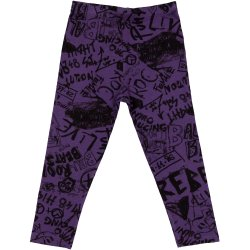 Purple leggings with music print