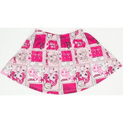 "Pink & magenta skirt with ""cool blablabla"" allover print"
