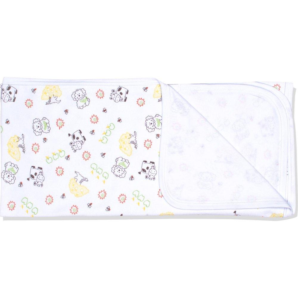 Păturică subțire (simplă) albă cu imprimeu model animăluțe | liloo
