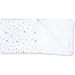 Păturică subțire (simplă) albă cu imprimeu model steluțe