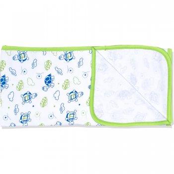 Păturică subțire (simplă) albă cu imprimeu model țestoase | liloo