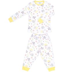 Pijamale groase imprimeu model animăluțe cu galben