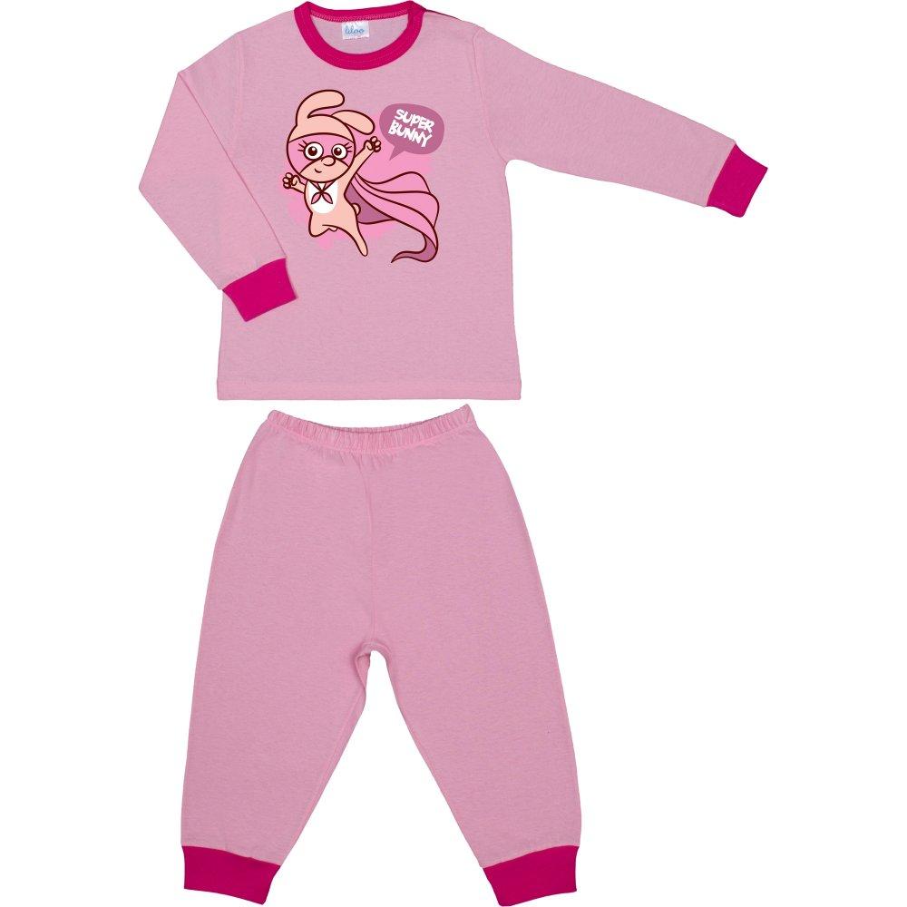 Pijamale primăvară-toamnă roz imprimeu super bunny | liloo