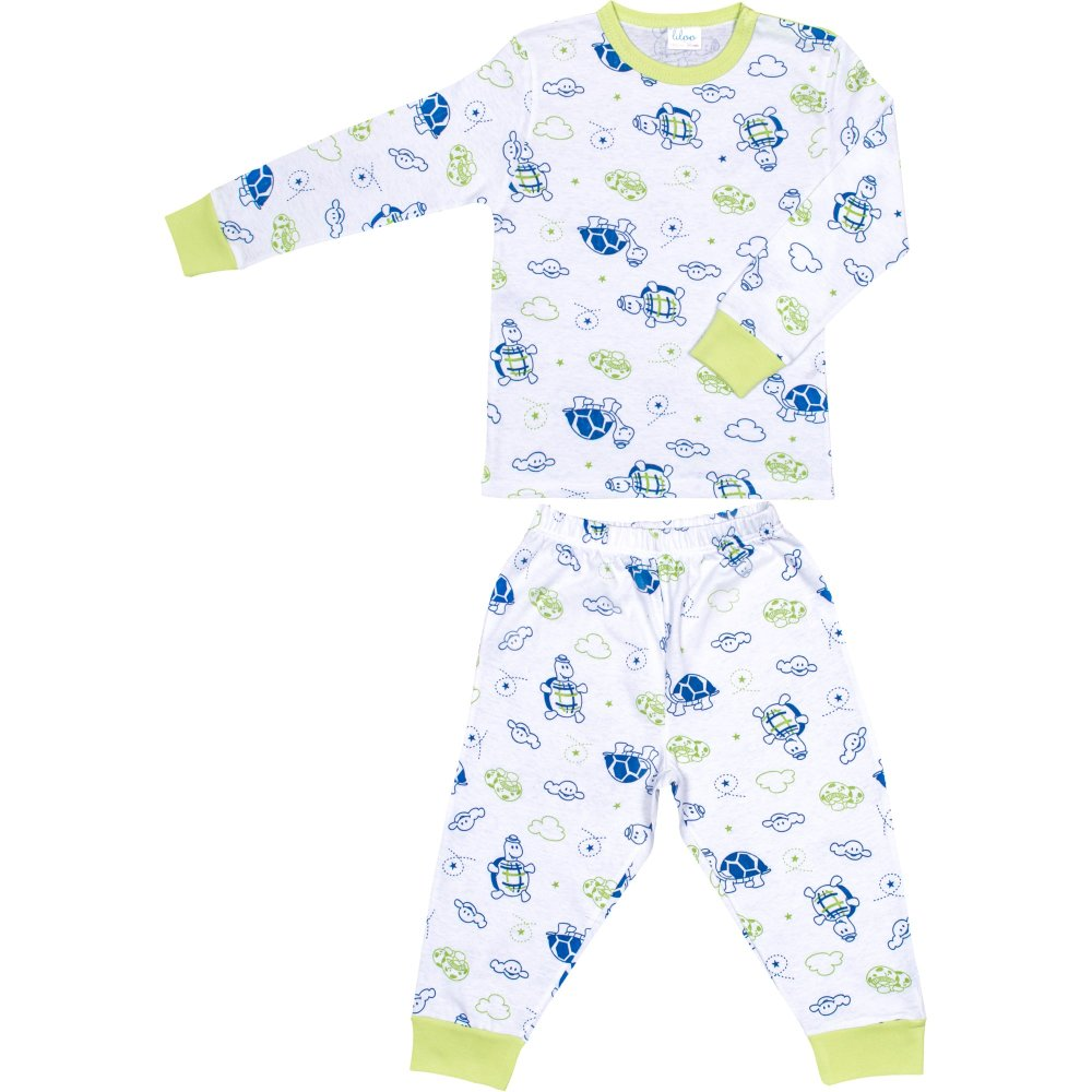 Pijamale primăvară-toamnă imprimeu model broscuțe țestoase | liloo