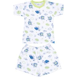 Short-sleeve thin PJs with turtles allover print